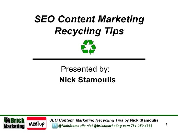 Boston and Cambridge SEO Meetup - Content Marketing Tips