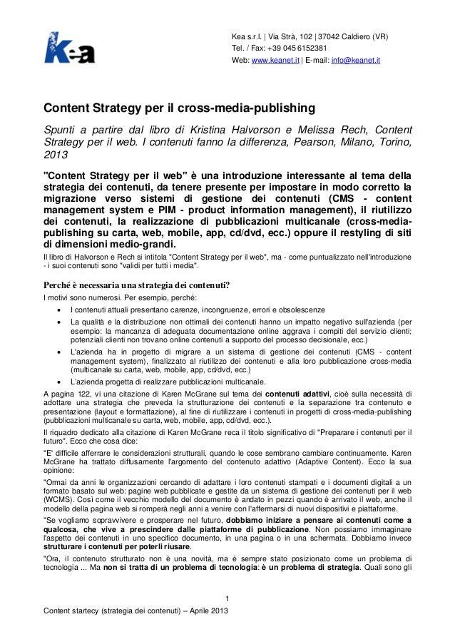 Content strategy per il web e il cross-media-publishing (pubblicazioni multicanale)