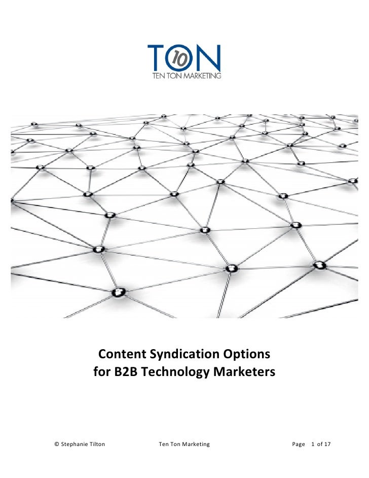 Content Syndication Options for Technology Marketers