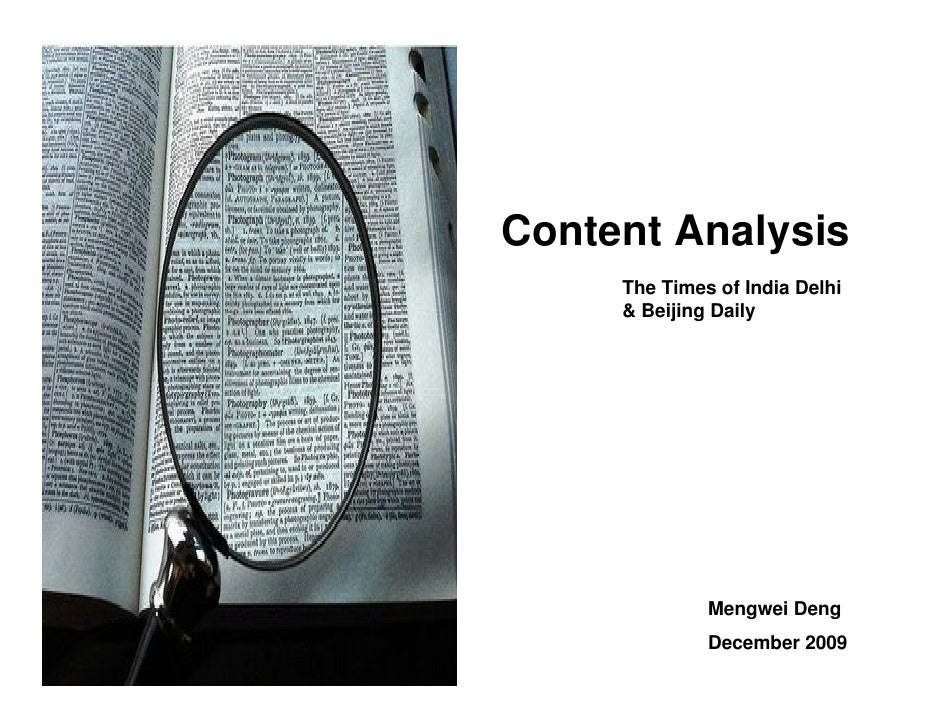 Content Analysis      The Times of India Delhi      & Beijing Daily                   Mengwei Deng               December ...