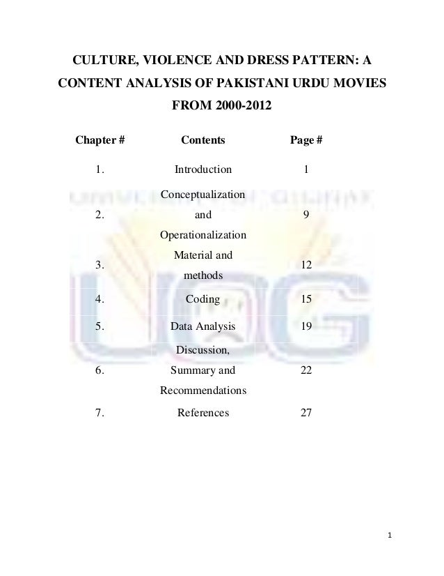 CULTURE, VIOLENCE AND DRESS PATTERN: ACONTENT ANALYSIS OF PAKISTANI URDU MOVIES                FROM 2000-2012  Chapter #  ...