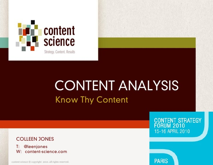Content Analysis: Know Thy Content
