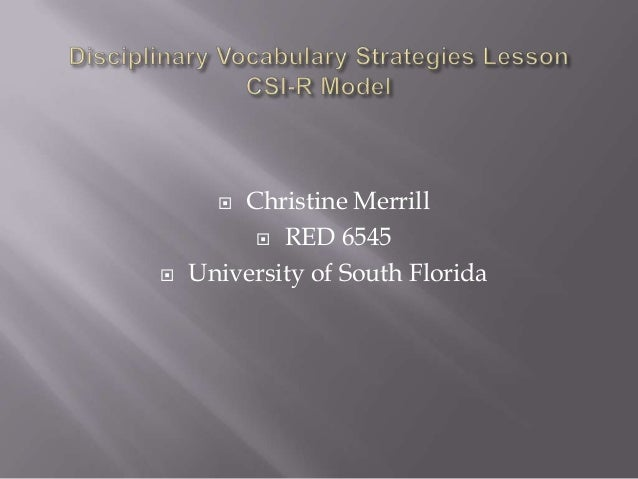Christine Merrill  RED 6545 University of South Florida   