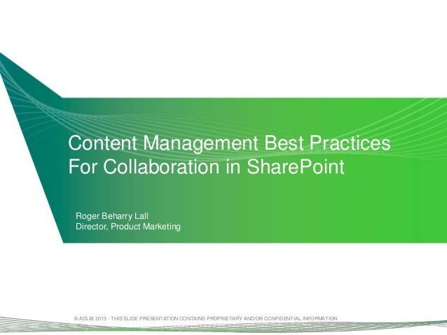 PRESENTATION: Content Collaboration in SharePoint