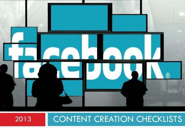 2013  CONTENT CREATION CHECKLISTS
