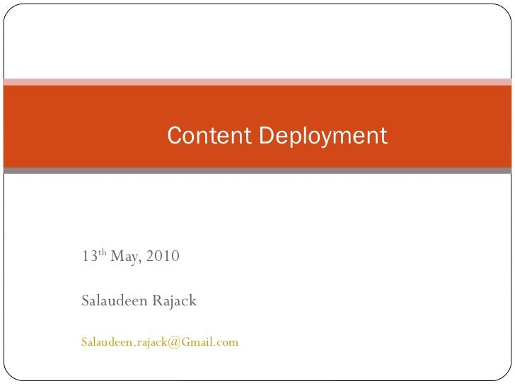Content deployment in MOSS 2007