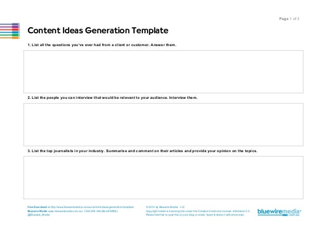 Content Ideas Generation Template