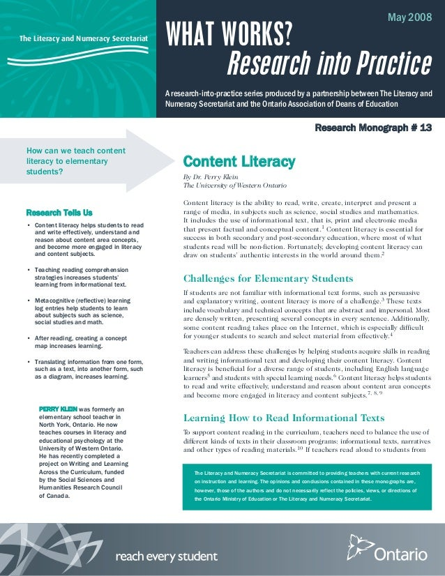 The Literacy and Numeracy Secretariat The Literacy and Numeracy Secretariat is committed to providing teachers with curren...