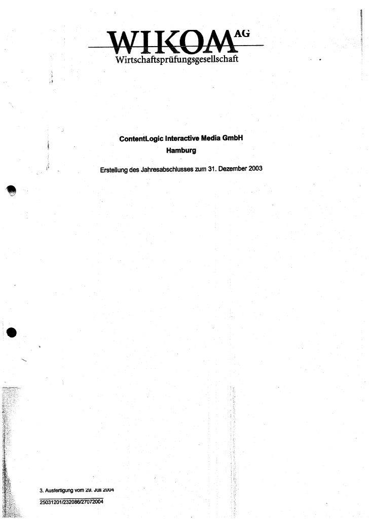 Content logic jahresabschluß 2003