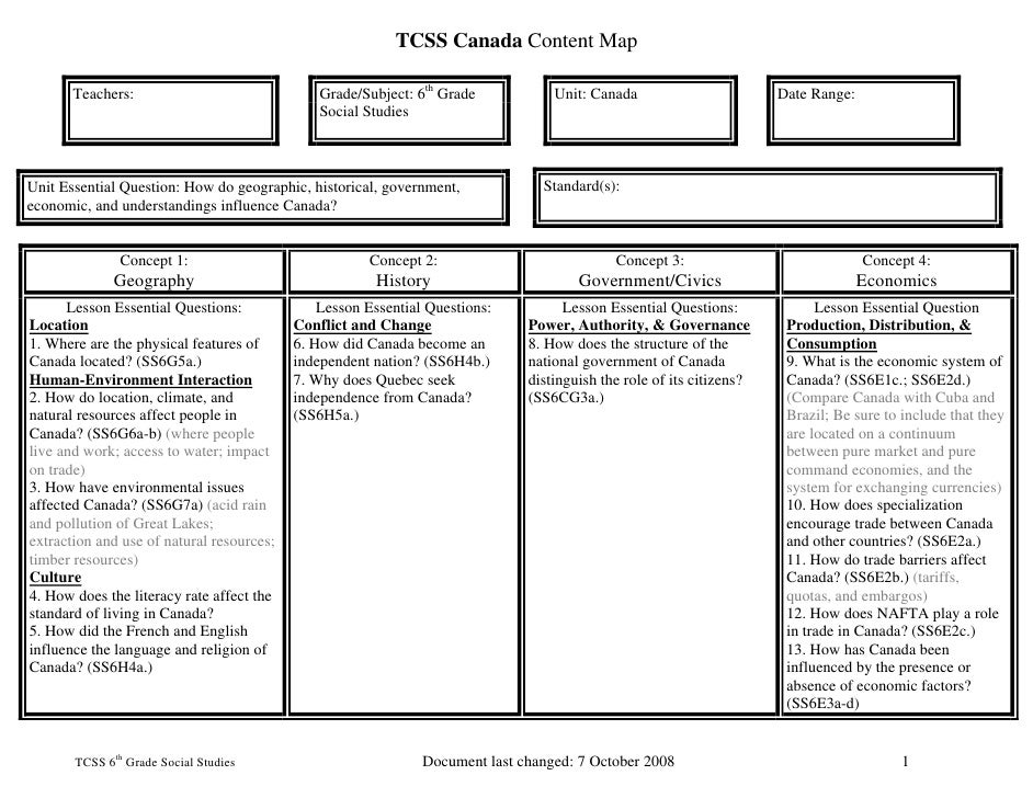 TCSS Canada Content Map         Teachers:                               Grade/Subject: 6th Grade           Unit: Canada   ...
