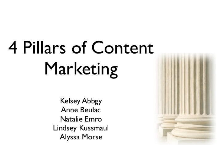 4 Pillars of Content      Marketing        Kelsey Abbgy         Anne Beulac        Natalie Emro      Lindsey Kussmaul     ...