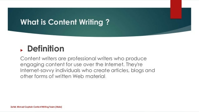 Content writing means
