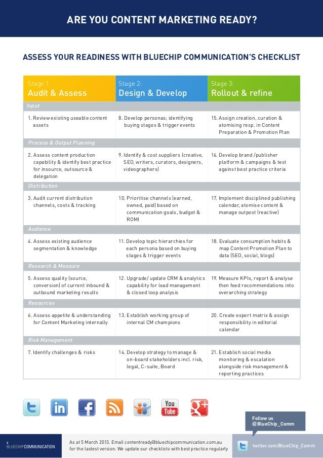 ARE YOU CONTENT MARKETING READY?ASSESS YOUR READINESS WITH BLUECHIP COMMUNICATION'S CHECKLIST Stage 1:                    ...