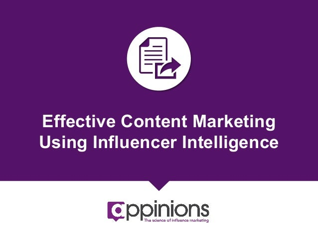 Effective Content Marketing Using Influence Intelligence {eBook}