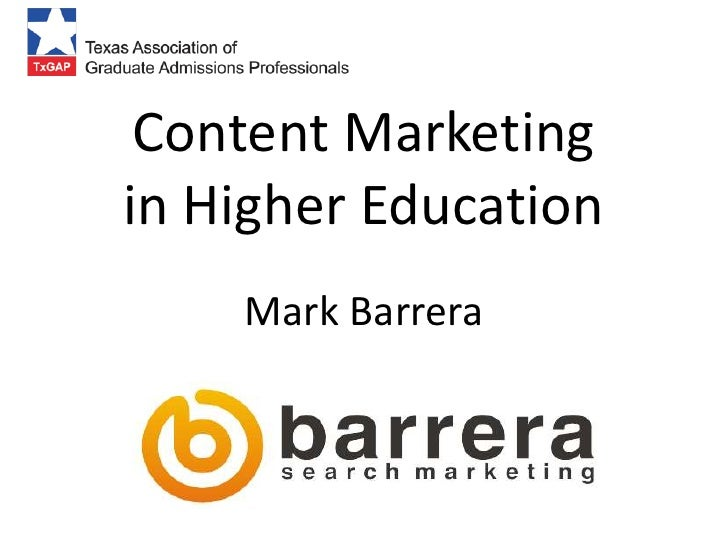 Content marketing for higher education   tx gap