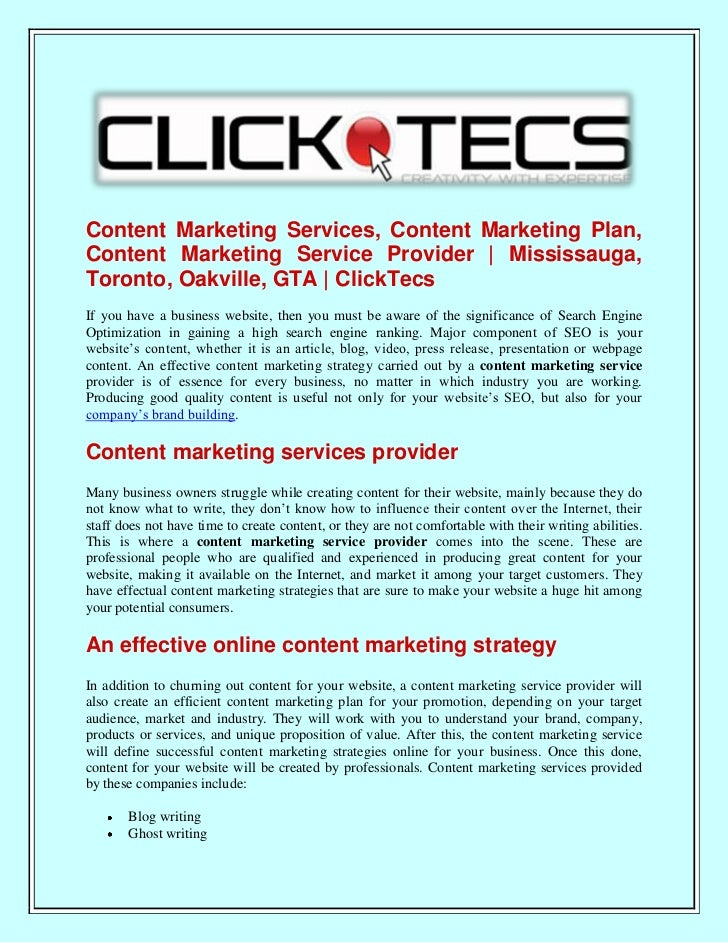 Content Marketing Services, Content Marketing Plan, Content Marketing Service Provider   Mississauga, Toronto, Oakville, GTA   ClickTecs