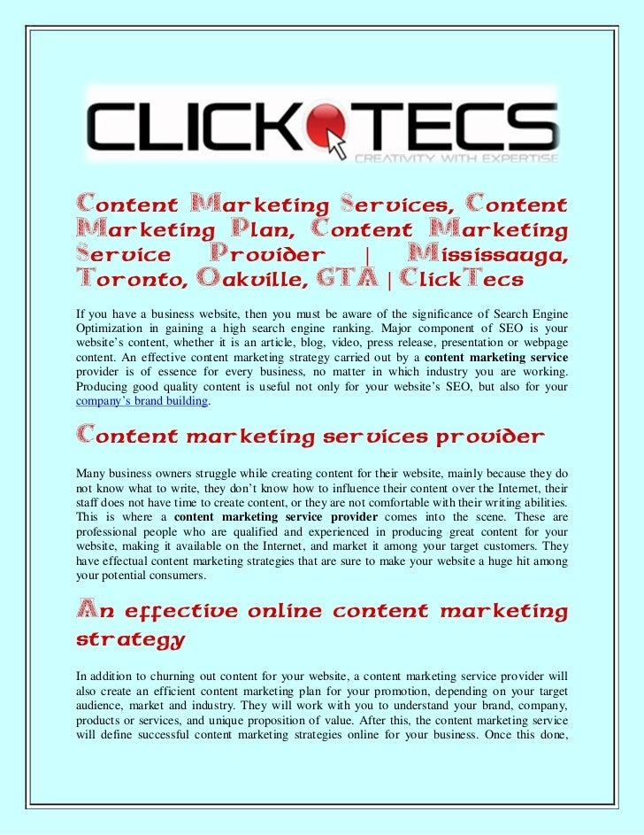 Content Marketing Services, Content Marketing Plan, Content Marketing Service Provider | Mississauga, Toronto, Oakville, GTA | ClickTecs