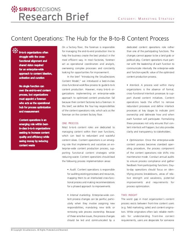 CATEGORY: MARKETING STRATEGY  Content Operations: The Hub for the B-to-B Content Process On a factory floor, the foreman i...