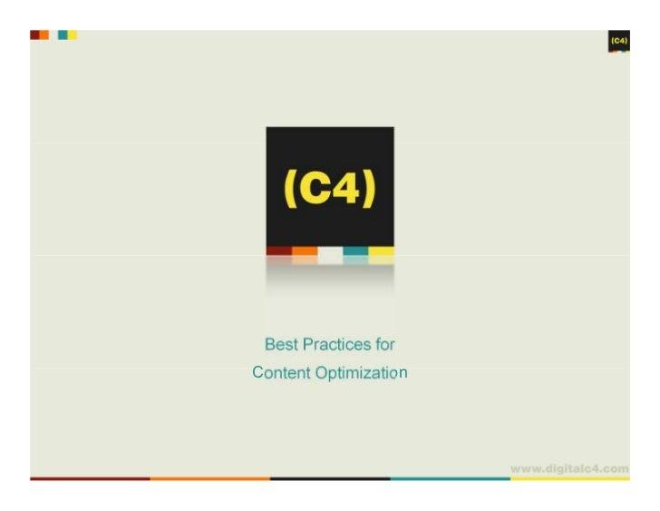 Best Practices forContent Optimization