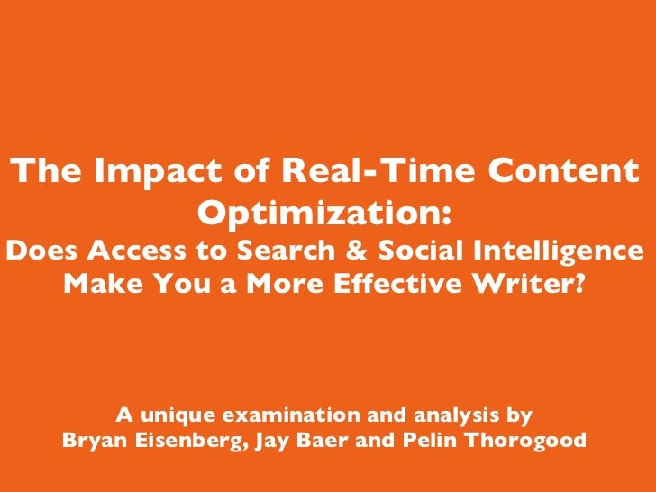 The Impact of Real-Time Content Optimization