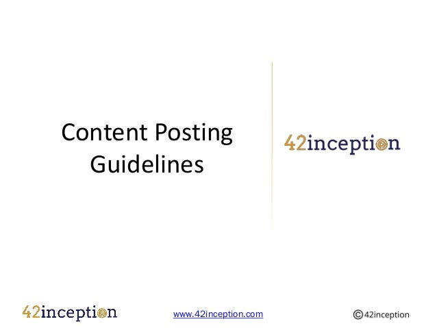 Content Posting Guidelines