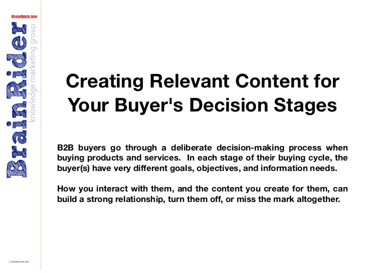 Creating Relevant Content for   Your Buyer's Decision Stages  B2B buyers go through a deliberate decision-making process w...