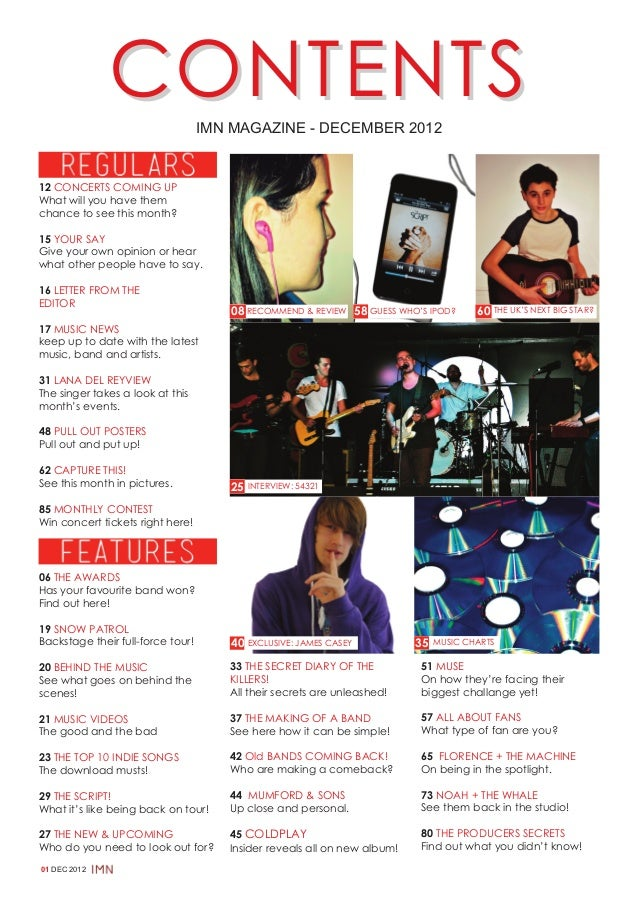 CONTENTS             IMN MAGAZINE - DECEMBER 201212 CONCERTS COMING UPWhat will you have themchance to see this month?15 Y...