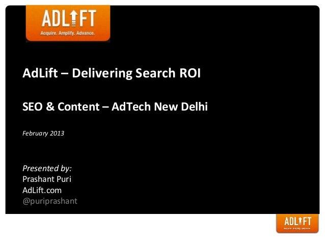 Content, Social & SEO - AdTech 2013
