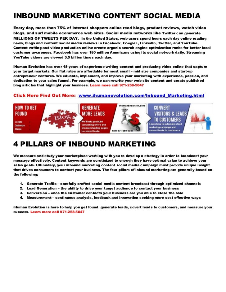 INBOUND MARKETING CONTENT SOCIAL MEDIAEvery day, more than 75% of Internet shoppers online read blogs, product reviews, wa...