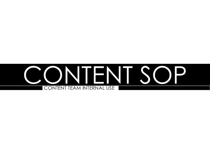 Content SOP content team internal use
