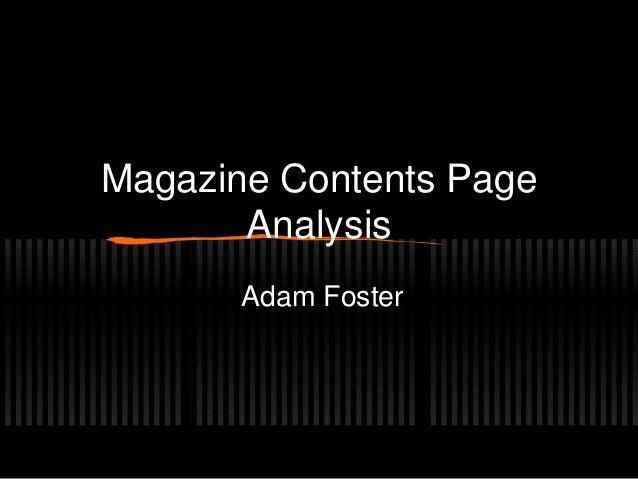 Magazine Contents PageAnalysisAdam Foster