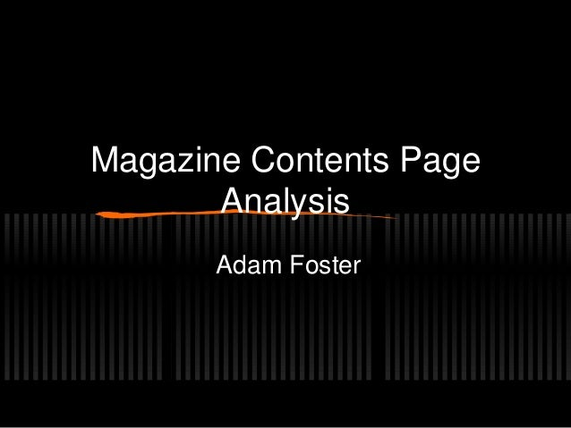 Magazine Contents PageAnalysisAdam Foster
