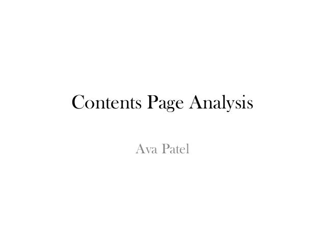 Contents Page Analysis Ava Patel