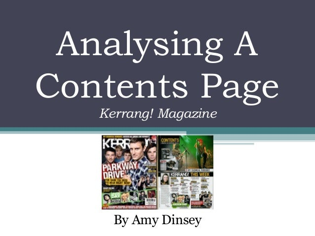 Analysing A Contents Page By Amy Dinsey Kerrang! Magazine