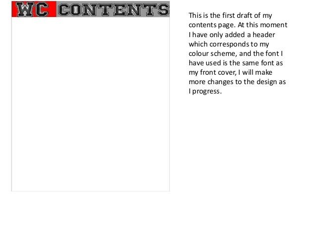 Contents page changes blog when finished