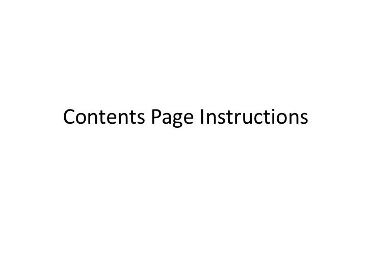 Contents Page Instructions