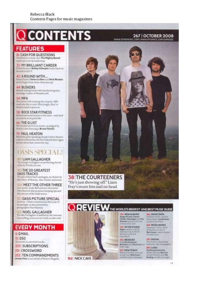 Contents page music magazine deconstruction