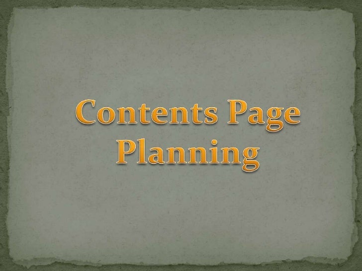Contents page planning