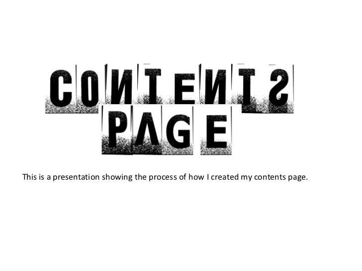 Contents page presentation