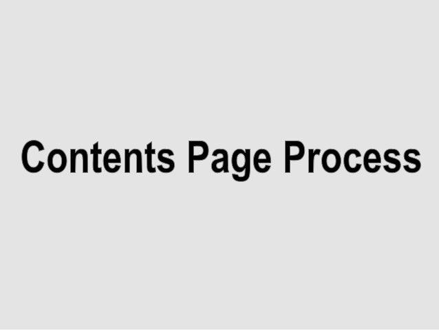 Contents page process kjbhkj
