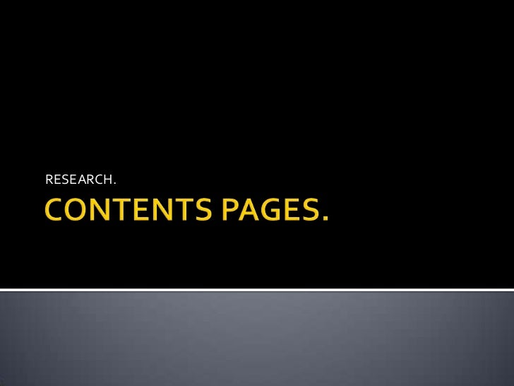 CONTENTS PAGES.<br />RESEARCH.<br />