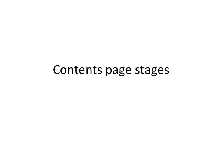 Contents page stages