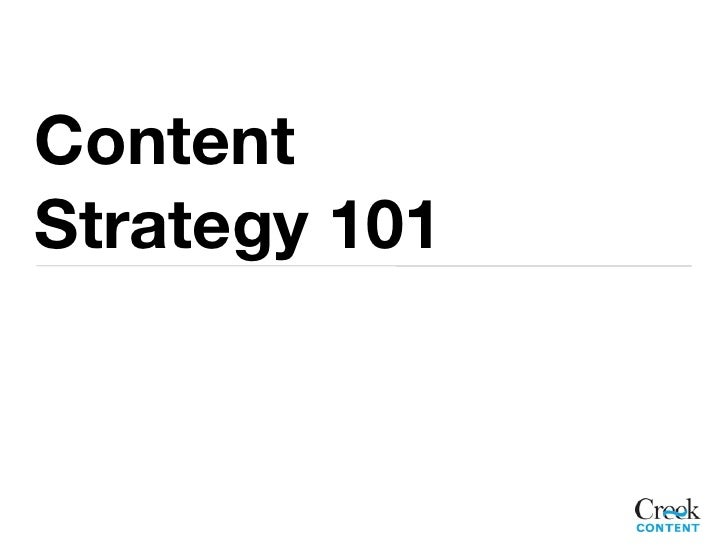 ContentStrategy 101