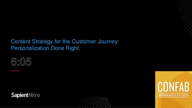 Content Strategy for the Customer Journey: Personalization Done Right Confab Minneapolis 2013