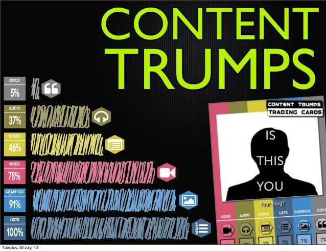 TRUMPS CONTENT IS THIS YOU Tuesday, 30 July, 13