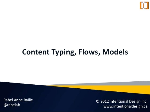 Content Typing, Flows, Models © 2012 Intentional Design Inc. www.intentionaldesign.ca Rahel Anne Bailie @rahelab