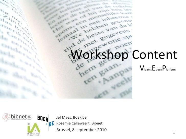 Content Vlaams E-boek Plaform