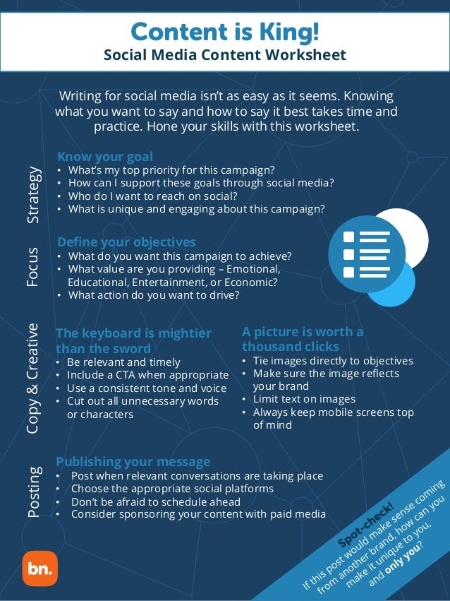 Content is King! Social Media Content Worksheet Writing for social media isn't as easy as it seems. Knowing what you want ...