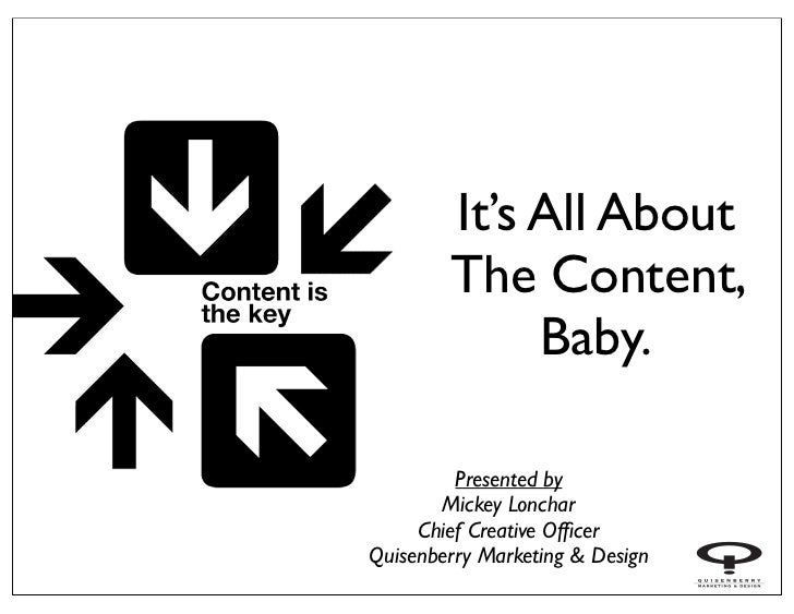 It's All About        The Content,             Baby.         Presented by       Mickey Lonchar     Chief Creative OfficerQu...