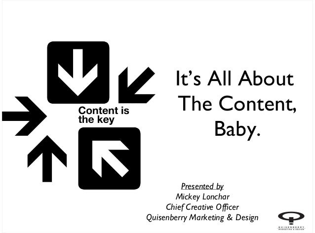 It's All About       The Content,            Baby.         Presented by       Mickey Lonchar     Chief Creative OfficerQui...
